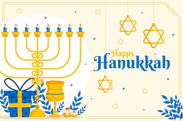 Fundo plano hanukkah desenhado à mão