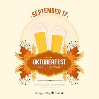 Fundo plano mais oktoberfest com uma caneca de cerveja