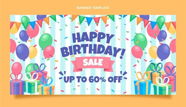 Fundo plano mínimo de venda de aniversário Vetor grátis