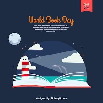 Fundo plano para o dia mundial do livro