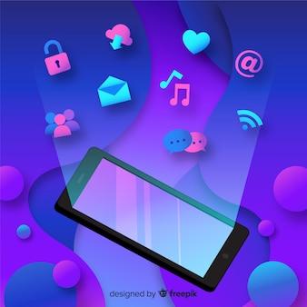 Fundo plano smartphone flutuante