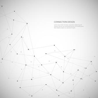 Fundo poligonal abstrato com linhas e pontos