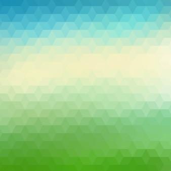 Fundo poligonal abstrato em tons verdes e azuis