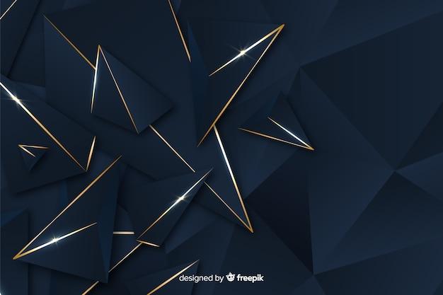 Fundo poligonal azul escuro elegante