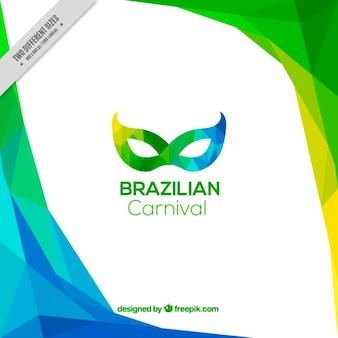 Fundo poligonal colorido com máscara para o carnaval brasileiro
