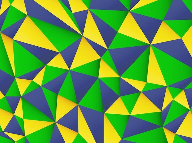 Fundo poligonal com as cores da bandeira do brasil