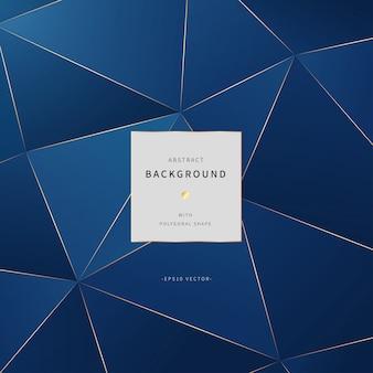 Fundo poligonal com cor azul e ouro clássica