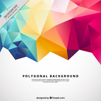 Fundo poligonal com formas coloridas