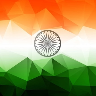Fundo poligonal de bandeira indiana