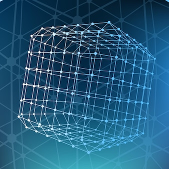 Fundo poligonal de malha abstrata escopo de linhas e pontos bola das linhas conectadas a pontos