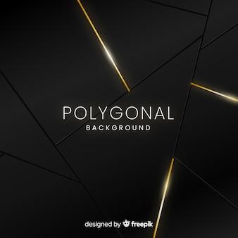 Fundo poligonal escuro e dourado