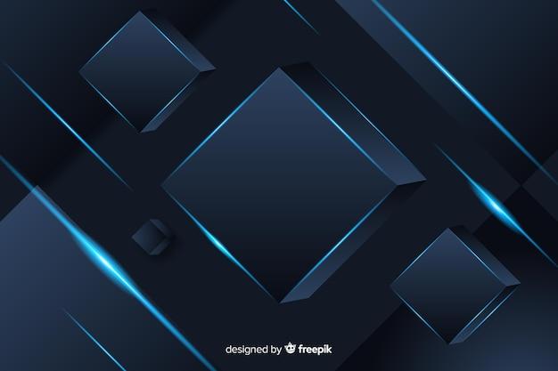 Fundo poligonal escuro elegante com cubos