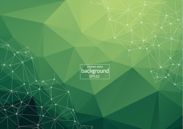 Fundo poligonal verde geométrico
