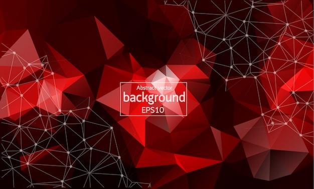 Fundo poligonal vermelho escuro geométrico