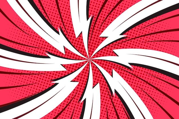 Fundo pontilhado em quadrinhos em vermelho e branco