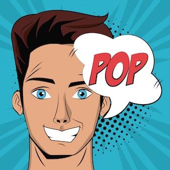 Fundo pop art do jovem homem