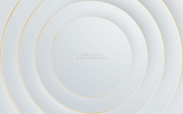 Fundo prateado claro abstrato moderno. design de forma de círculo elegante com linha dourada.