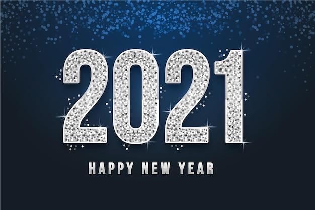 Fundo prateado do ano novo 2021