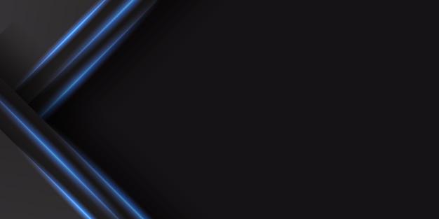 Fundo preto abstrato com decoração de luz azul brilhante