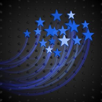 Fundo preto abstrato com estrelas azuis