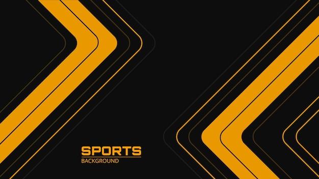 Fundo preto abstrato de esportes com setas e ângulos de linhas amarelas e cinza