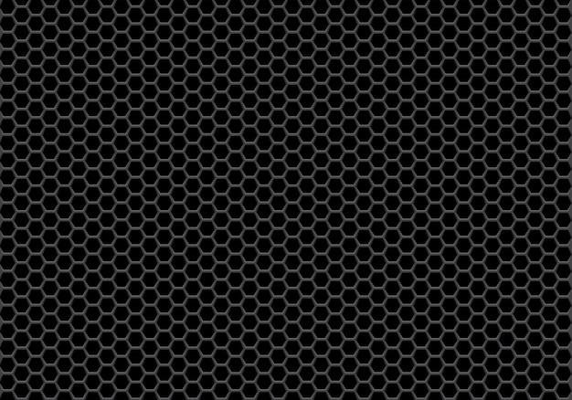Fundo preto abstrato do teste padrão da malha do hexágono.