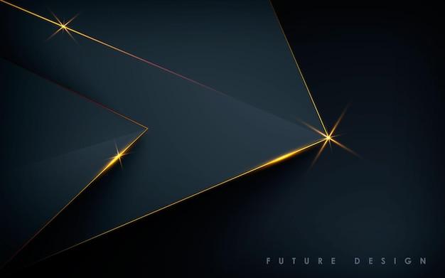Fundo preto abstrato luxuoso com camadas de luz dourada