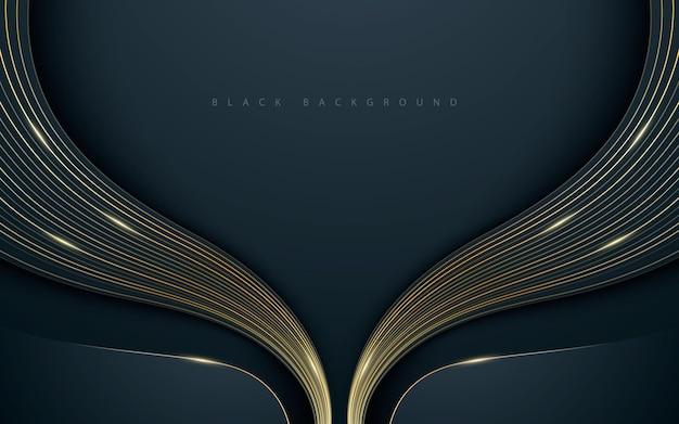 Fundo preto abstrato luxuoso com decoração de linha dourada