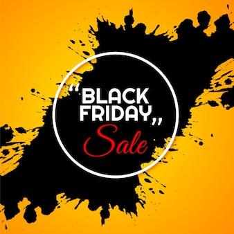 Fundo preto amarelo de venda na sexta-feira com salpicos de cor