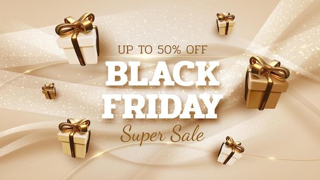 Fundo preto banner de venda sexta-feira com caixa de presente realista com luxo de fita ouro. ilustração em vetor 3d.