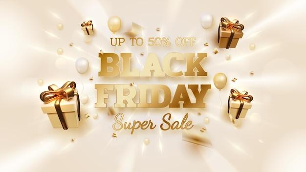 Fundo preto banner de venda sexta-feira com caixa de presente realista e balões com luxo de fita ouro em néon de linha de luz. ilustração 3d realista do vetor.