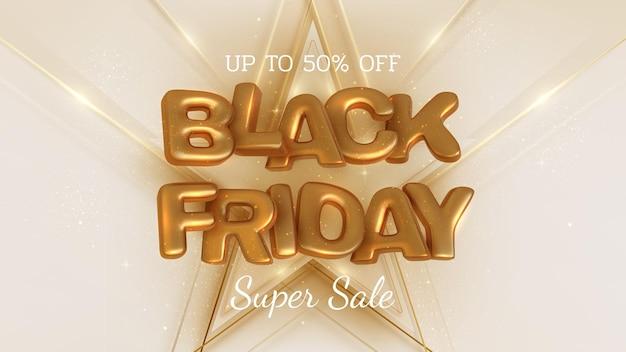 Fundo preto banner de venda sexta-feira, letras de ouro de luxo 3d realistas, até 50% de desconto. ilustração vetorial.