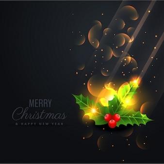 Fundo preto com belas folhas brilhantes do natal