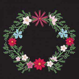 Fundo preto com borda hexagonal decorativa com flores e folhas coloridas