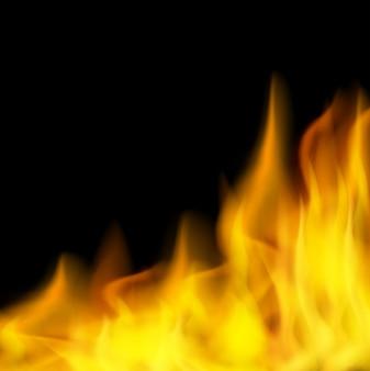Fundo preto com fogo ardente
