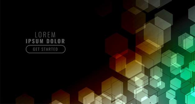 Fundo preto com grade hexagonal colorido