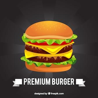Fundo preto com hambúrguer delicioso
