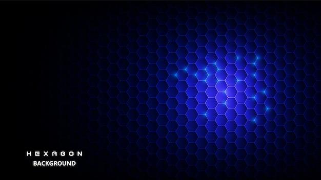 Fundo preto com hexagonal azul