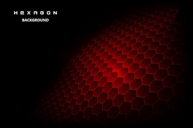 Fundo preto com hexagonal vermelho