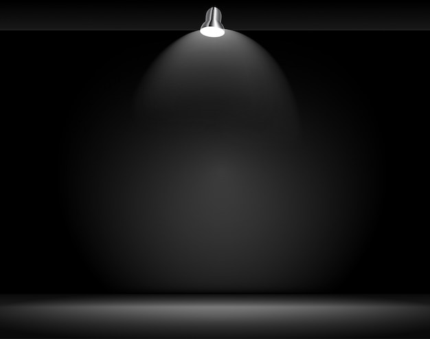 Fundo preto com lâmpada