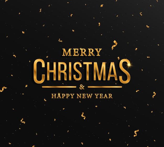 Fundo preto com letras douradas e cartão de natal com confetes dourados