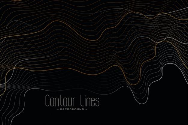 Fundo preto com linhas de contorno brilhantes