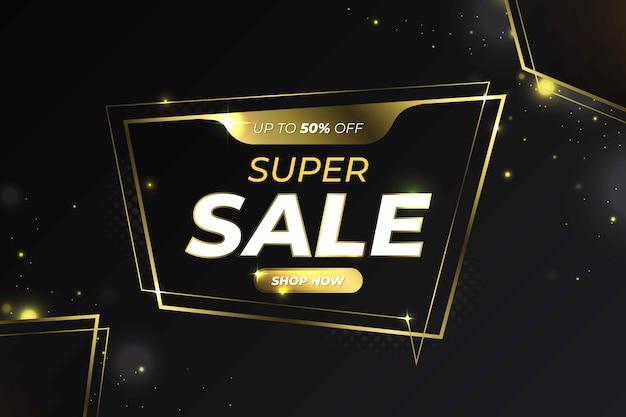Fundo preto com linhas douradas para ofertas de venda