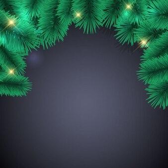 Fundo preto com luzes de natal e folha de pin