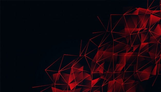 Fundo preto com malha de baixo poli vermelho brilhante
