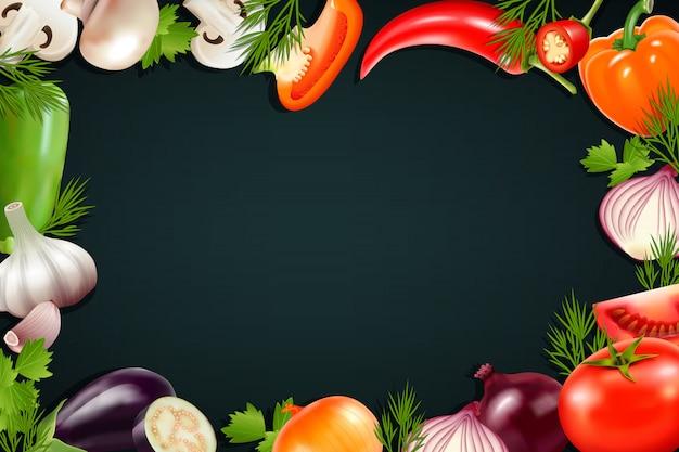 Fundo preto com moldura colorida contendo ícones de legumes realistas, assim como tom de berinjela de pimenta