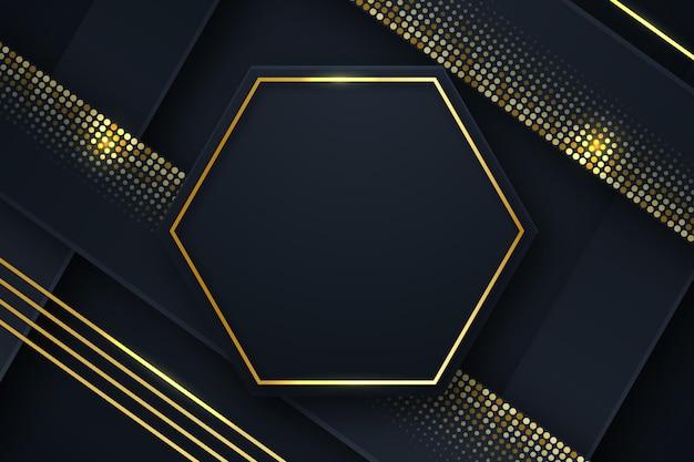Fundo preto com moldura hexagonal dourada