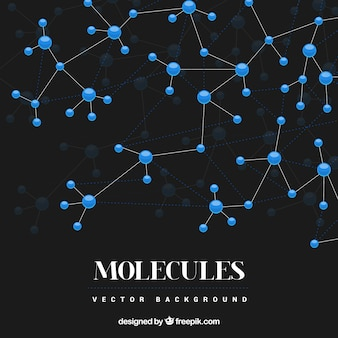 Fundo preto com moléculas azuis