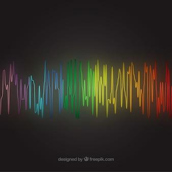 Fundo preto com onda de som colorido