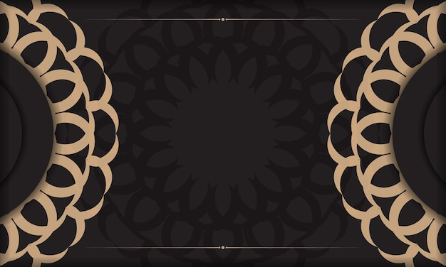 Fundo preto com ornamentos vintage de luxo e lugar para o seu logotipo e texto. design de cartão postal com ornamentos vintage.